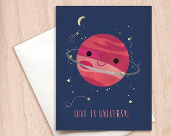 Love is Universal - Dreamy Valentine Card, Planet Card, Love Card, Universe Card, Cute Valentine's Card, Kawaii Card, Set of Note Cards