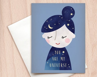You are My Universe - Dreamy Valentine Card, Anniversary Card, Love Card, Universe Celestial Card, Cute Valentine's Card, Set of Note Cards