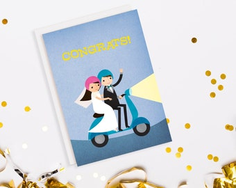 Vespa Scooter Just Married Wedding Card