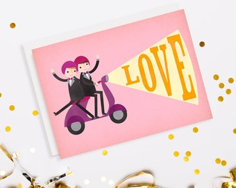 Vespa Scooter Gay Wedding Card