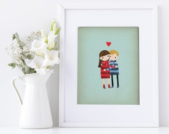 Family Portrait Illustration, Custom Portrait Illustration, Custom Cartoon Portrait, Custom Couples Portrait, Wedding Gift