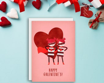 Happy Galentines Day Card, Galentine's Day, Galentine Card, Galentine Cards, Galentine, Friend Valentine, Friendship Card, Set of Note Cards