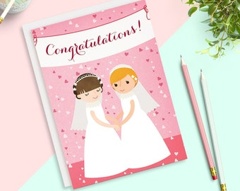 Two Brides Confetti Wedding Congratulations Card