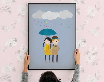 Rainy Day Love 1 Art Print