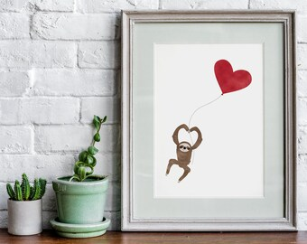 Sloth Wall Art Print, Personalized Art, Art Wall Decor, Family Art Print, Inspirational Wall Art, Adventurer Wall Art, Livingroom Wall Art
