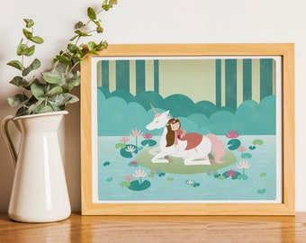 Sleeping Beauty Unicorn Lake Fairytale Print