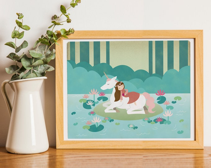 Featured listing image: Sleeping Beauty Unicorn Lake Fairytale Print