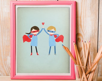 Wall Art Print, Super Couple Art Print, Team Art Print, Best Friends Print, Married Couple Print, Team Prints, Super Friends Print