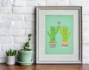 Funny Cactus High Five Art Print