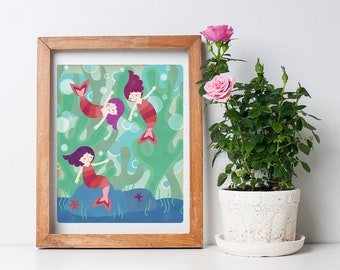 Little Mermaids Fairytale Print