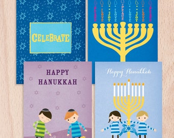 Hanukkah cards etsy happy hanukkah greeting cards sample pack of 4 hanukkah greeting cards m4hsunfo