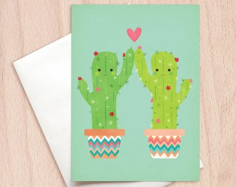 Happy Birthday Cactus High Five - Birthday Greeting Card, Birthday Card for Kids, Children's Birthday Card, Cactus Card