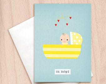 Oh Baby! - New Baby - Yellow Crib - Unisex Congratulations New Baby Greeting Card