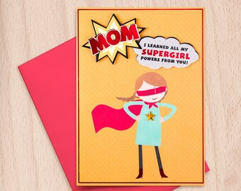 Happy Mother's Day - MOM - SuperGirl Powers - Daughter to Mother - Mother's Day Greeting Card with Foil Stamping, Gems & Tip-Ons