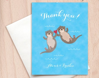 Custom Thank You Otters Wedding Cards - Postcards