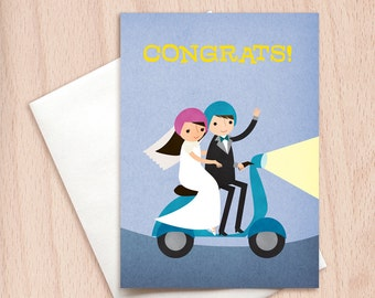 Bride & Groom Moped Wedding Congrats - Vespa Wedding Congratulations Greeting Card