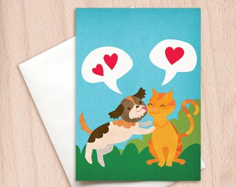 Cat & Dog Kisses Card