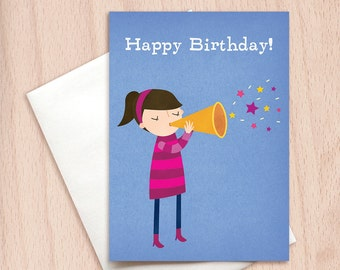 Happy Birthday - Musical Girl - Happy Birthday Greeting Card