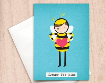 Please Bee Mine - Punny Valentine Card - Funny Happy Valentine Greeting Card, Funny Valentine Card, Be Mine, Love Card, Cute Valentine Card