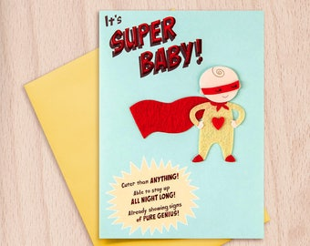 Super Hero Baby, congratulations card, greeting card, new baby card, super baby, unisex baby card, funny baby card, funny card