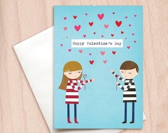 Valentine's Day Blowing Kisses - Boy & Girl - Happy Valentine Greeting Card, Valentine's Day Card, Hearts, Boyfriend Girlfriend Valentine