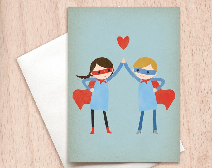 Featured listing image: Super High Five - Couple - Valentine, Boyfriend Girlfriend, BFF Best Friends Greeting Card, Kids Valentine's Card, Valentine's For Kids