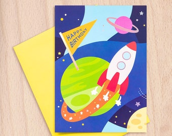 Happy Birthday - Out of this World - Galaxy Outerspace UFO Spaceship Boy Girl - Z-Fold Birthday Greeting Card with Glow in the Dark Stickers