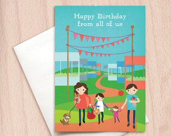 Happy Birthday from All of Us - Group Birthday - Birthday Greeting Card from Whole Family