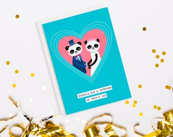 Panda Kawaii Wedding Greeting Card
