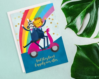 Animals Happily Ever After Gay Wedding Card