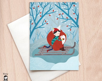 Winter Fox Hug Christmas Card