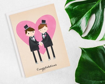 Groom And Groom Just Married Card