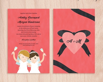 Custom Brides Lesbian Wedding Invitations - Cheers - 5x7 Flat Cards