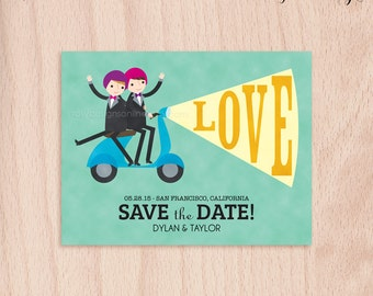 Custom Grooms Gay Moped Wedding Save the Date Card - Postcard
