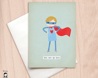 You are My Hero Boy Card
