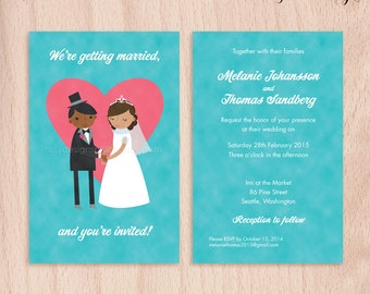 Custom Bride & Groom Wedding Invitations - Pink Heart - 5x7 Flat Cards