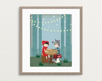 Little Red Riding Hood & Wolf Date Night Art Print, funny art print, art print, wall art, gift for her, home décor, wall decor, nursery art