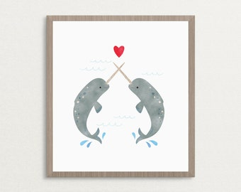 Narwhals in Love - Art Print, Valentine Gift, Love Print, Narwhal Whale Art Print, Home Decor Wall Art, 8x10, 16x20, 20x30, Poster Print