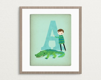 A is for Alligator - Customizable 8x10 Alphabet Art Print