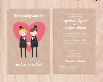 Custom Grooms Gay Wedding Invitations - Pink Heart - 5x7 Flat Cards