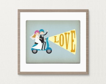 Bride & Groom Moped Love Wedding - Customizable 8x10 Archival Art Print