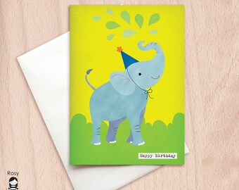 Happy Birthday Elephant - Birthday Greeting Card