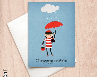 Showering You with Love - Rain Shower - Rainy Day Parisian Girl - Bridal Shower Greeting Card - Birthday Greeting Card