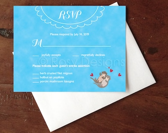 Custom RSVP Otters Wedding Cards - Postcards