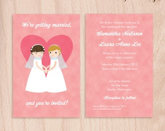Custom Brides Lesbian Wedding Invitations - Pink Heart - 5x7 Flat Cards
