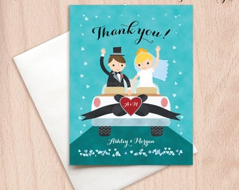 Custom Bride & Groom Wedding Car Thank You Cards - Just Married - Postcards