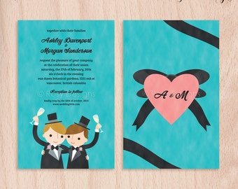 Custom Grooms Gay Wedding Invitations - Cheers - 5x7 Flat Cards