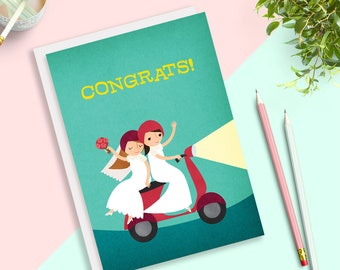 Love Moped Lesbian Brides Same Sex Wedding Card