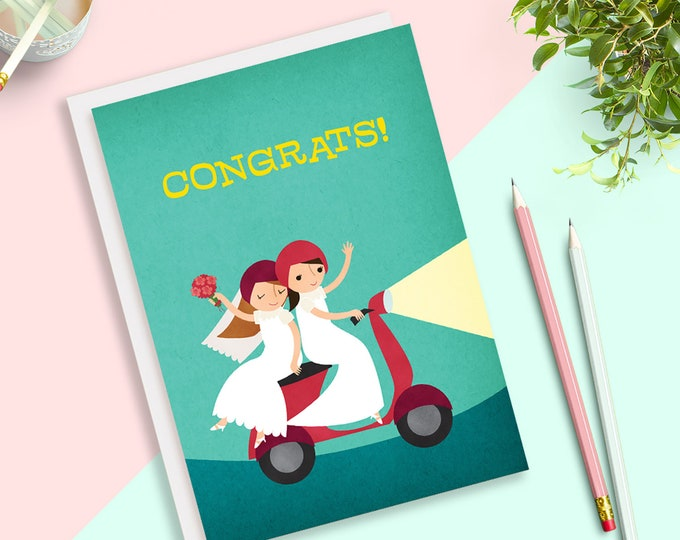 Featured listing image: Love Moped Lesbian Brides Same Sex Wedding Card