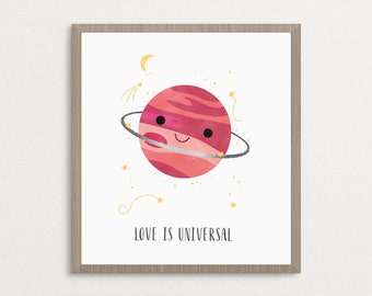 Love is Universal - Planet Space Art Print, Dreamy Art, Love Print, Moon and Stars, Home Decor Wall Art, 8x10, 16x20, 20x30, Poster Print